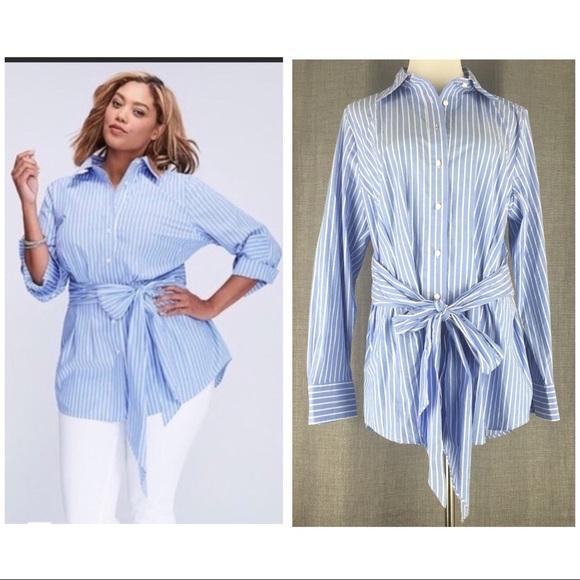 8925c422 Lane Bryant Tops | Size 14 Striped Tunic Front Tie Shirt | Poshmark